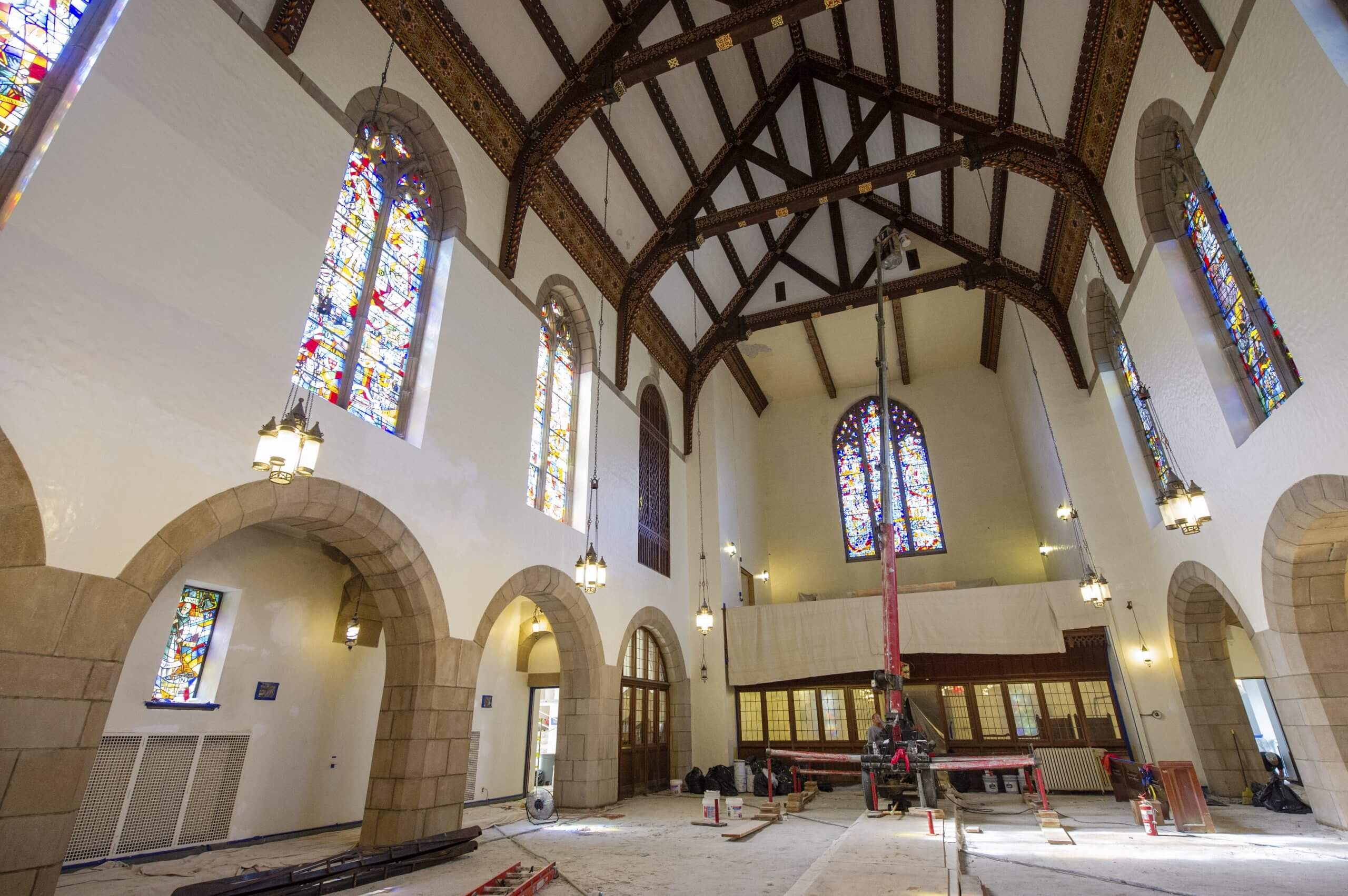 Gunnison Chapel interior during construction
