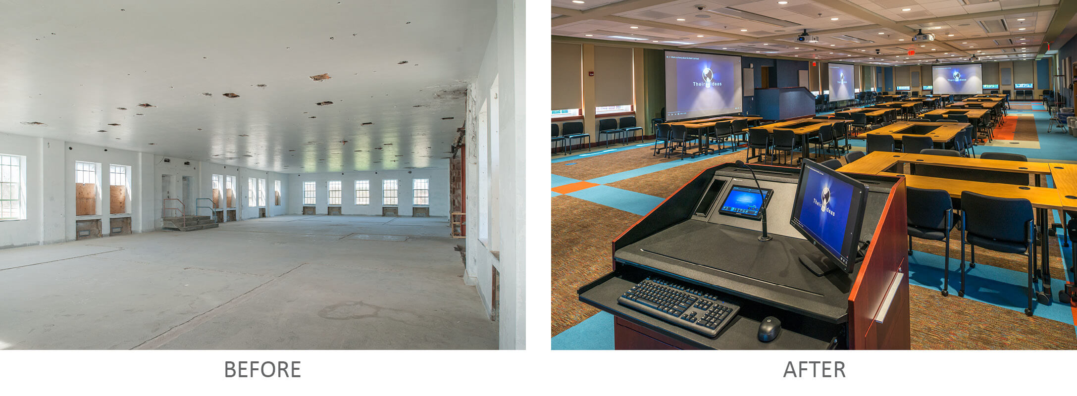 Conference Room Before, Conference Room and Podium After