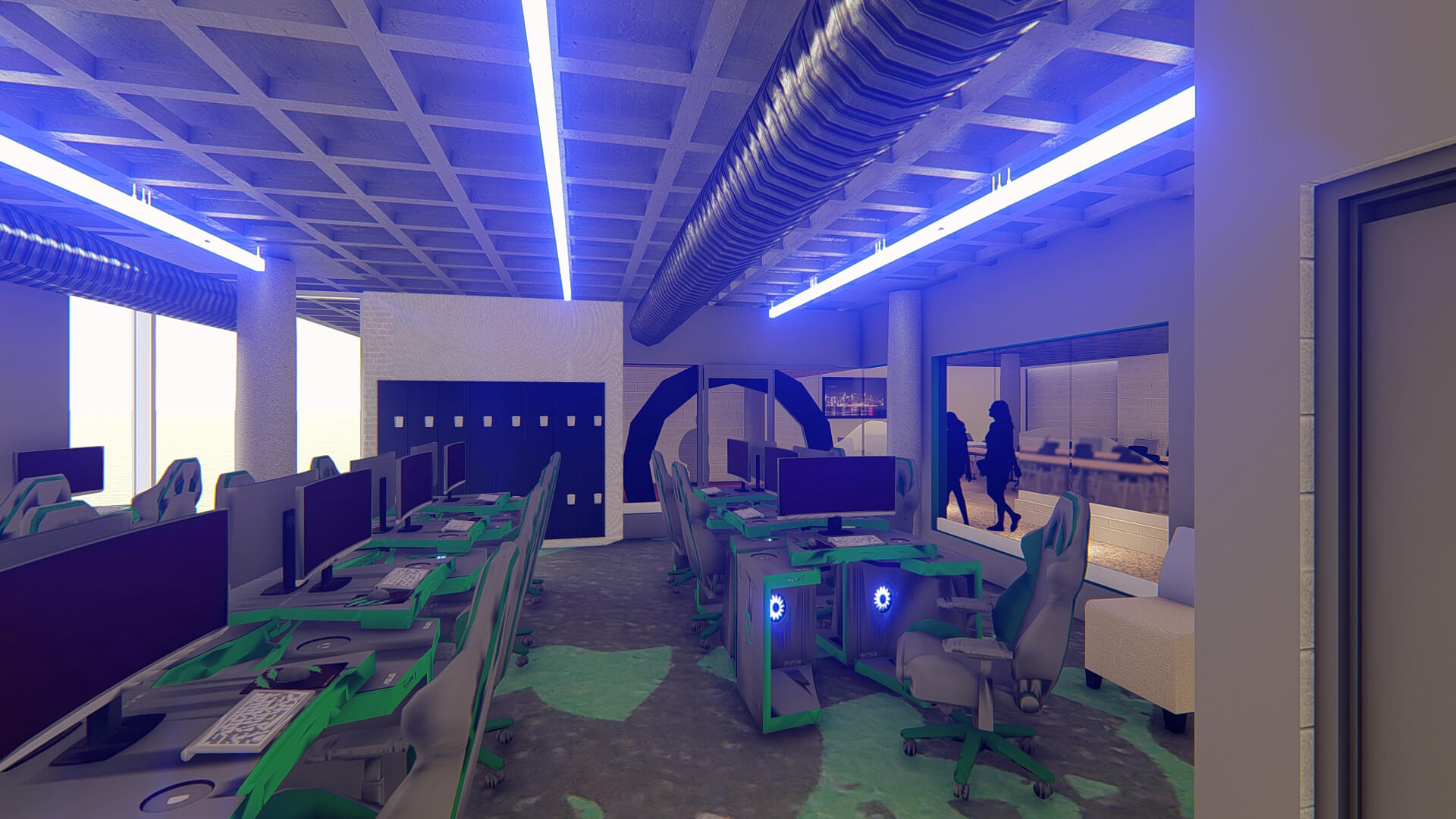 Gaming stations inside an eSport Arena Interior